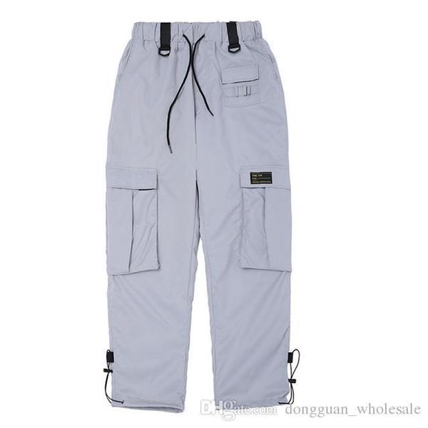 Hip Hop Sweatpants Hommes Femmes Automne multi Pocket Pantalons Orange Argent Cargo Homme Streetwear taille élastique Pantalon Jogger Casual