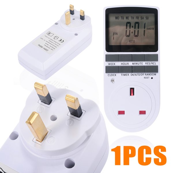 Lcd Digital Programable Timer Switch Socket Electronic Uk Plug 12/24 Horas Timer Switch Socket Con Reloj Para Inicio Timer Switch T190620