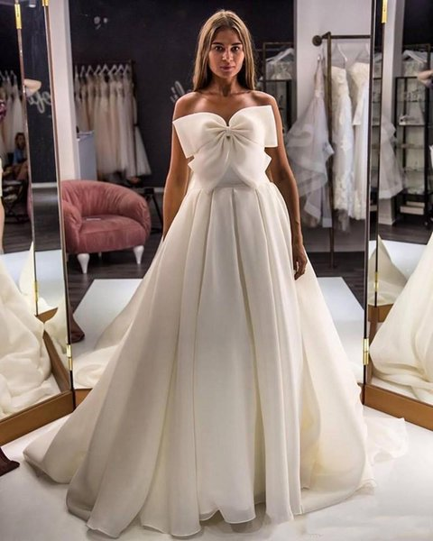 Bohemia Beach Wedding Dresses With Big Bow Chiffon Bridal Dress Plus Size Back Zipper Simple Wedding Guest Dress