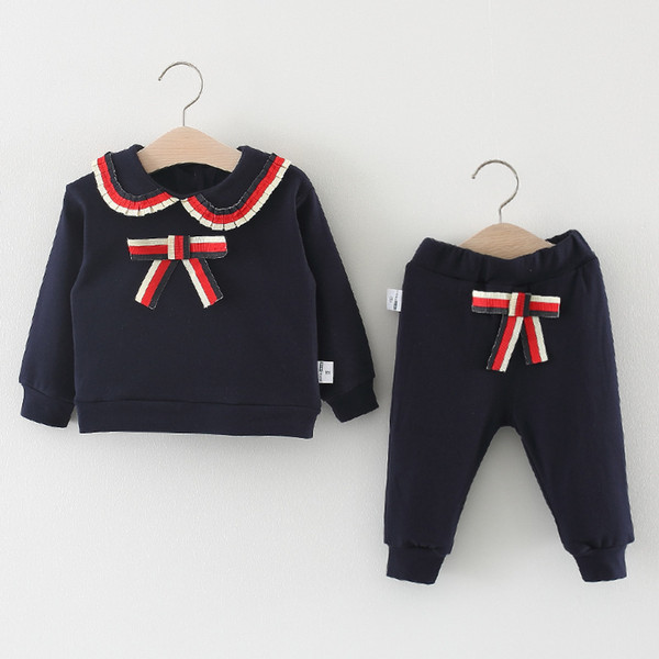 Kids Clothes Suit Baby Cotton Fashion Tracksuit Girls Sets For Girl Child Navy Style 2pcs Teenage Autumn Spring Wear 3 4 5 Years Y190522
