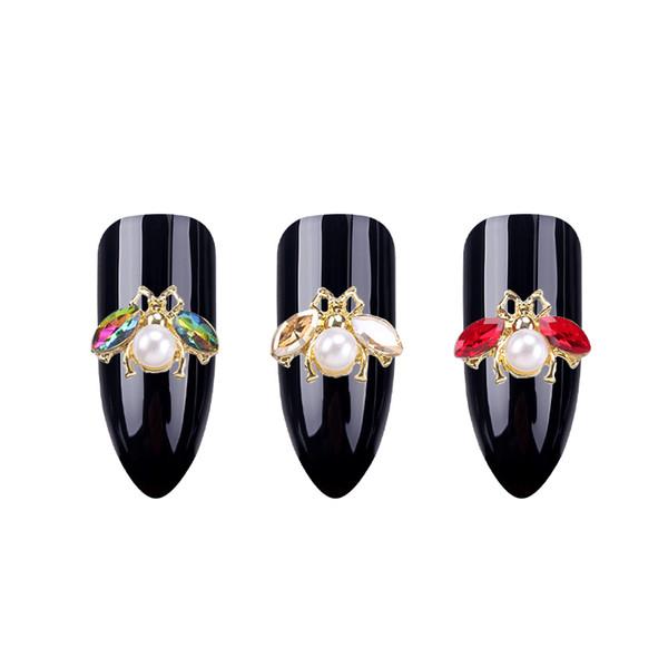 10pcs/set Japanese 3D Bee Nail Art Decorations DIY Crystal Nails Rhinestones Studs Cute Animals Design Alloy Nail Accessoires