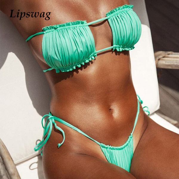 fc1e0cb3ab6 micro bikini suits Promo Codes - Sexy Bandeau Ruffles Micro bikini High cut  Bikini Set swimsuit