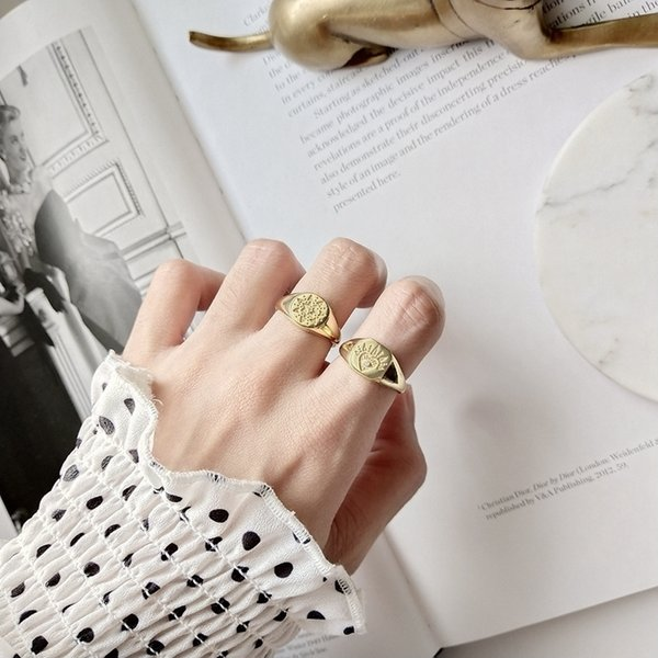 Louleur 925 Sterling Silver Retro Pattern Open Rings Gold Round Square Abstract Pattern Rings For Women Original Jewelry Charms Y19061003