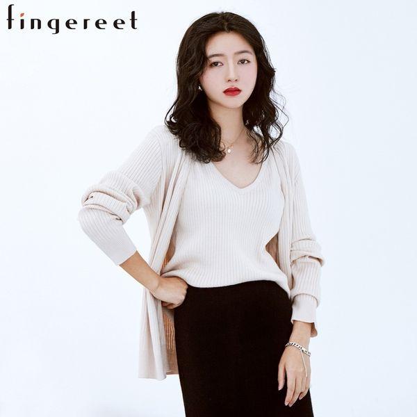 Autunno e inverno Nuovo modello vestito-abito di maglia coreano sfoderato indumento superiore a maniche lunghe Cardigan Vest Twinset Maglione