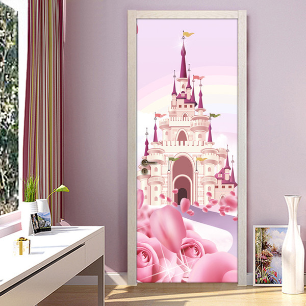 Cartoon Castle 3d Wallpaper Pink Princess Room Girls Bedroom Door Wall Sticker Mural Wallpaper Pvc Waterproof Self Adhesive Papel De Parede Moving