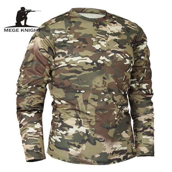 Mege Brand Clothing New Autumn Spring Men Long Sleeve Tactical Camouflage T-shirt Camisa Masculina Quick Dry Military Army Shirt C19041001