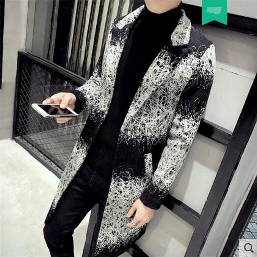 Abrigo de trinchera de un solo pecho de otoño invierno nuevos de estilo largo abrigo de lana versión masculina de la chaqueta de la juventud delgada. M-2XL !!