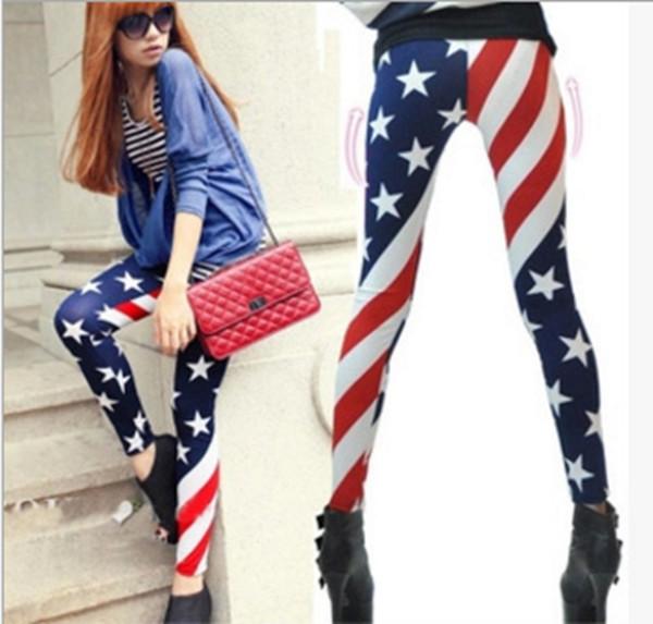 Senhoras leggings American Flag stripe pants mulheres slim um tamanho top quallity impresso feminino poliéster Meia-calça