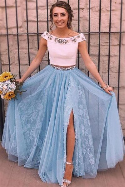 new blue and white two pieces lace prom dresses boat neckline aline full long formal evening gowns slits prom dress 2019 cheap