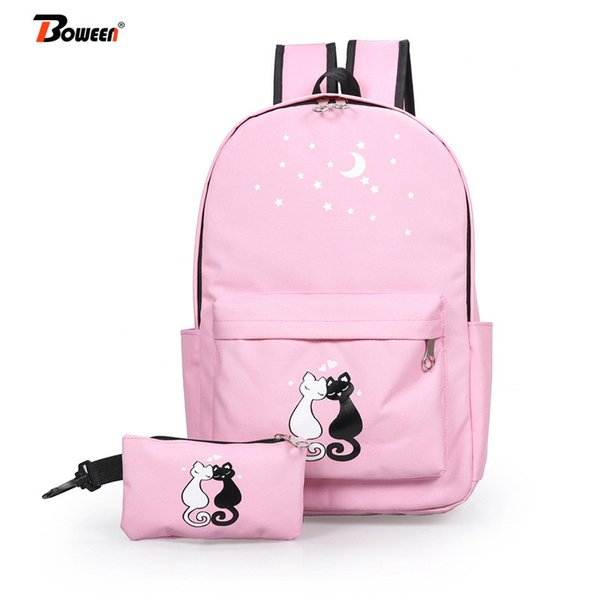 2 piece set cute cat nylon backpack women pink schoolbag for girls teenage high school back pack college wind bagpack 2019 new