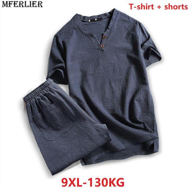 MFERLIER verão 2018 tshirt Homens plus size 5XL 6XL 7XL 8XL estilo japão T-shirt de linho de algodão casual do vintage solto Com Decote Em V azul marinho