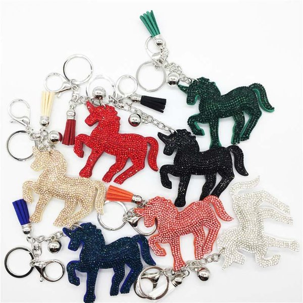 Crystal Unicorn Keychain Diamond Unicorn Horse tassel Key Chain Carabiner Key Ring Bag Hangs Fashion Jewelry for Women DROP SHIP 340004