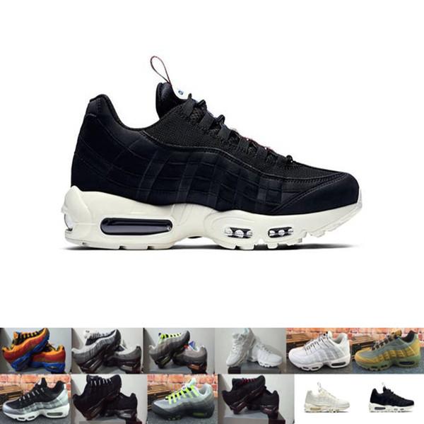 Nike air max 95 Hombres y mujeres nuevos zapatos al aire libre jóvenes joker populares con fondo blanco y negro pequeños frescos al aire libre EUR 36-45