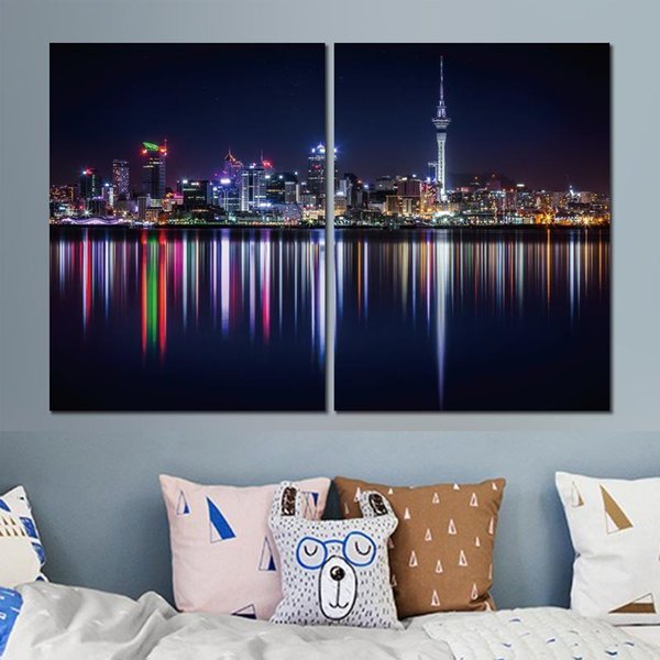 2 sets HD canvas prints new zealand shore lighting unframed Painting for wall decor fine art