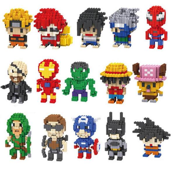 Action Figures Building Block LNO Avengers Super héros Spiderman et Hulk Minifig Naruto bricolage petit bâtiment particules de diamant Blocs d'enfants Jouets
