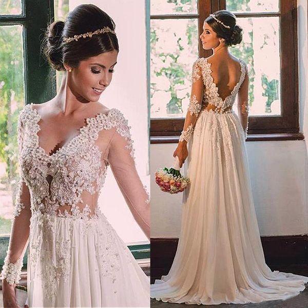 Шифон V шеи A Line Свадебные платья бисером Аппликация See Through свадебное платье Vintage Boho Backless невесты партии Wear