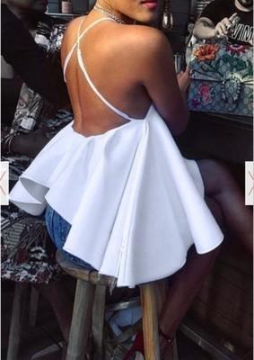 Women Sexy Halter White Big Ball Gown Style Tank Tops Summer Club Backless High Low Hem Tees Top New Fashion Basic Clothes C19042301