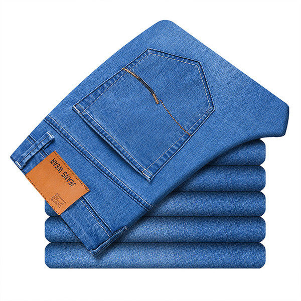 Casual Jeans For Men Spring Autumn College Skinny Straight Black Blue Zipper Solid Stretch Classic Denim Pants Male