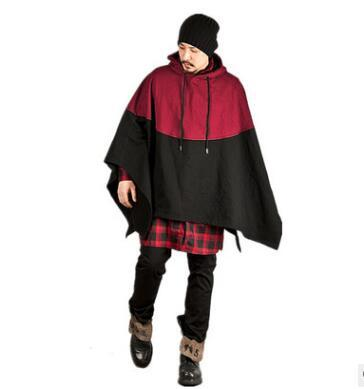 New Men Fashion Hooded Loose Hoodies Color Matching Clothing Long Sleeve Clothes Male Cloak Outerwears Tops