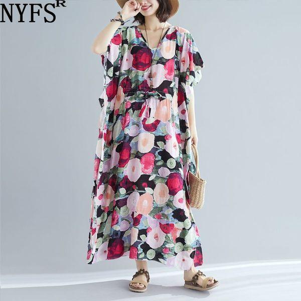 NYFS Yaz elbise 2019 Yeni Gevşek Uzun Elbise Edebi Vintage Baskılı Kadınlar Vestidos Robe Elbise Bölünmüş Plaj