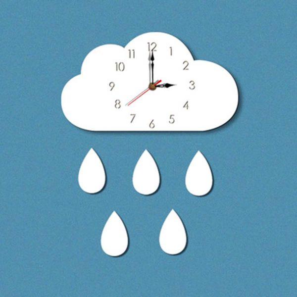 1PC Nordic forma bonito Nuvem gota de chuva Relógio de parede monocromático para crianças kids room decoração adereços Figurines Fotografia presente