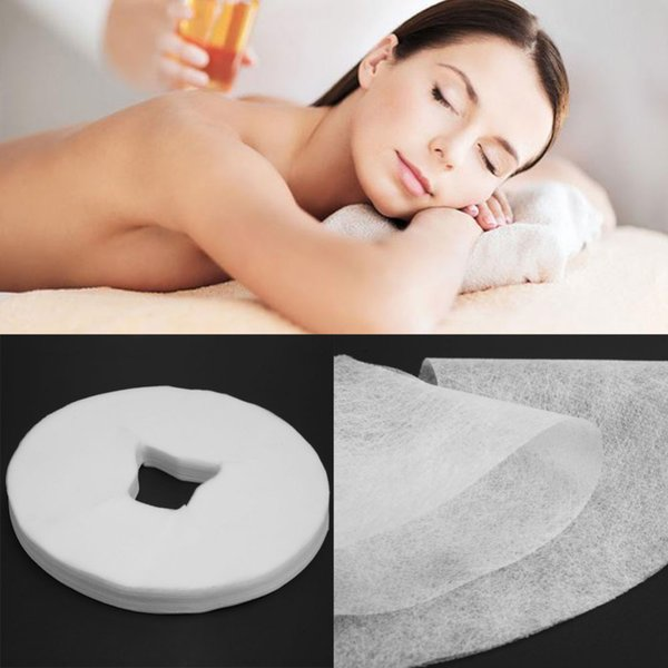 100PCS Disposable White Non Woven Fabric Face Pad Spa Pillow Cover Towel Face Rest Overlay Pad Massage Medical Beauty Bed Hole
