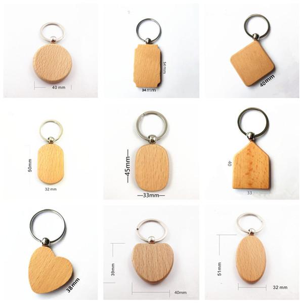 25X Blank Porte-clés En Bois Personnalisé En Bois Porte-clés Rectangle, Squre, Rond et Coeur Sharped Quatre Taille à Choisir KW01X Drop Shipping