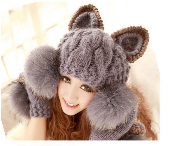 Faux Fur Ball Wool Hat Cap Super Cute Winter Warm Korean Women Devil horns Cat Ear Knit Beanie HA20658712