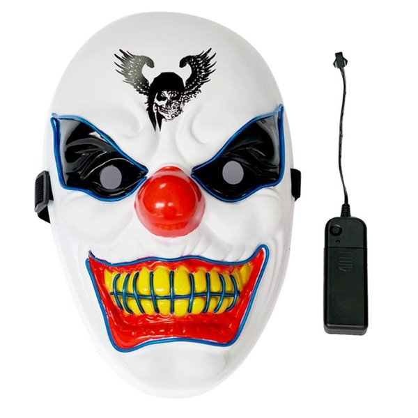 Halloween Cosplay LED Mask EL Wire Light Mask Scary Light-up Mask for Halloween Party Festival Scary Decoration Supplies White
