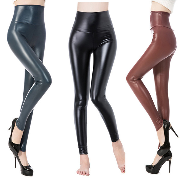 DISSIMILAR Hot High Waist PU leggings Sexy Skinny Leather Matt Black Leggins Ankle-length Stretchy Pants for Women Y190603