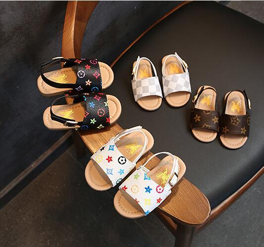 Summer Baby Sandals Kids Boys PU Slippers First Walker Shoes Non-slip Shoes Outdoor Beach Sandals Floral Printed Casual Sandal GGA2037