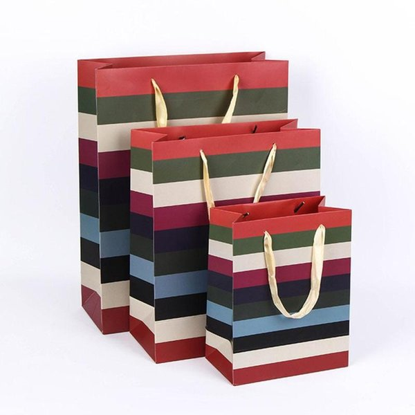 1pc Kraft Paper Box Gift Bag with Handle Festival Stripe Candy Bags Wedding Birthday Decoration Party Supplies #11020
