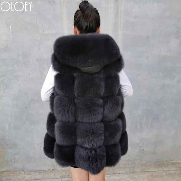 Gilet da donna in vera pelliccia di volpe con cappuccio, vera pelliccia naturale, gilet in pelle di volpe con cappello, giacca da donna