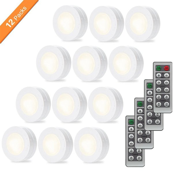 12pcs LED Night Light Wireless Portable Remote Controller AAA Battery Touch Sensor Under Cabinet Lights For Kitchen Wall Lamp