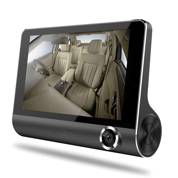 "3 ways camera auto registrator car DVR recorder 4"" screen 1080P FHD video front 170° rear 140° interior 120° night vision G-sensor"