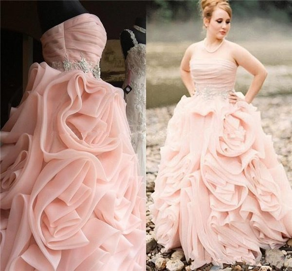 rustic country style pink wedding dresses sexy strapless organza ruffle plus size country bridal gown elegant beaded garden reception dress