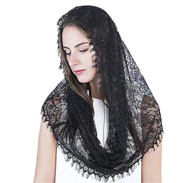 2019 schwarzer Spitze Schleier Mantillas für Kirche Headcovering HeadWrap katholische lateinische Masse Mantilla Negras Vela Negra Voile