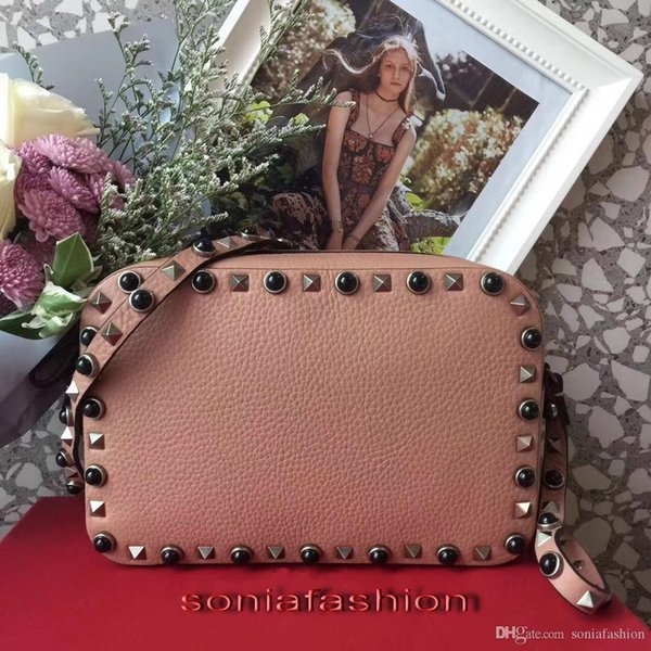 Free shipping hot fashion of 2018 women bag genuine leather designer lady cross-body with rivet bag many colors