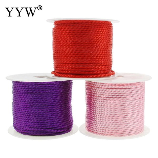 50m/Spool 2mm Nylon Red Satin Chinese Knotting Silky Cord Beading Braided