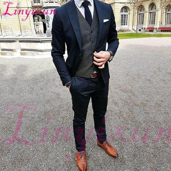 Linyixun Navy Blue Suit Men Street Style Slim Fit Men Suits Prom Smart Business Groom Dress Tuxedo Latest Designs 3 Piece Terno