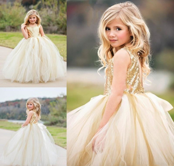 Sparkly Sequined Dress Cheap Princess Flower Girls Dresses for Weddings Jewel Hollow Back Girls Pageant Gowns First Communion Dress