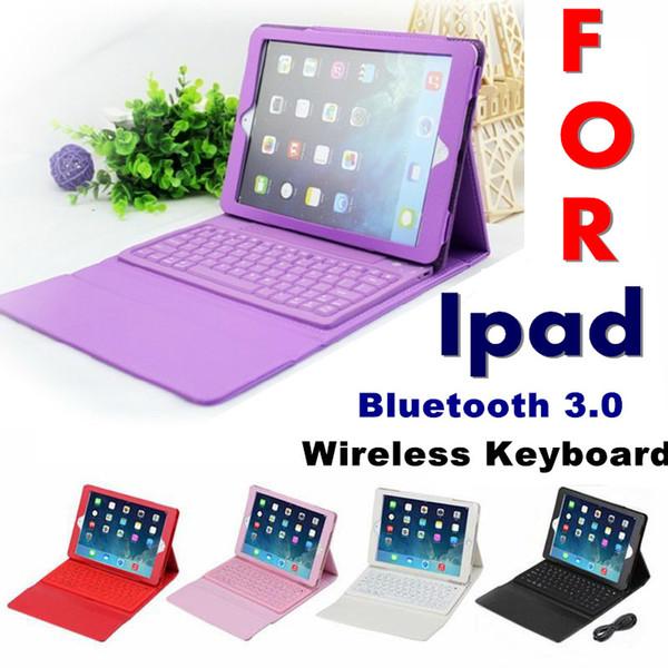 50 stücke bluetooth wireless keyboard ledertasche für ipad pro 1 2 3 4 5 air mini 2 retina ständer halter schutzfolie schutz ausgekleidet