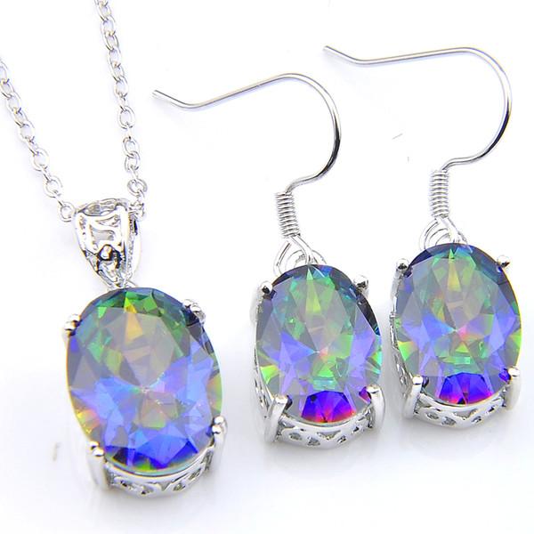 5 set Luckyshine Fashion lady Set Blue Rainbow Mystic Topaz Gems Pendants Orecchini Ovali 925 Set di gioielli in argento all'ingrosso