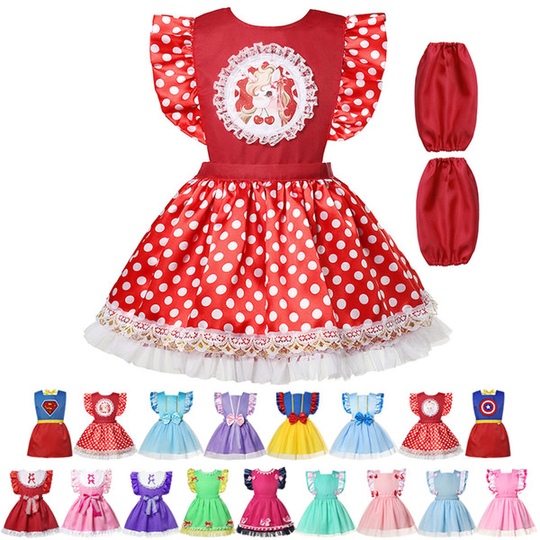 best selling 17 Colors Baby Girl Bibs Toddler Cute  dress Burp Cloths Infant Waterproof Smock Princess Cosplay Apron+sleeve free ship