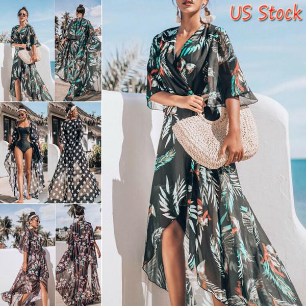 Femmes Boho En Mousseline De Soie Cover Up 2019 Nouvelle Mode Kimono Chemise Cardigan Long Beach Cover Up Top Robe Vente Chaude