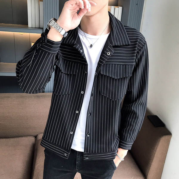 Spring autumn Men's Clothing Casual Jacket Fashion Youth Trend Vertical Stripe Long Sleeve Lapel Jacket Contrast Men's