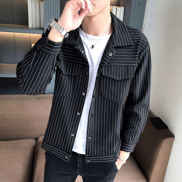 Frühling herbst herrenbekleidung casual jacke mode jugend trend vertikale streifen langarm revers jacke kontrast männer