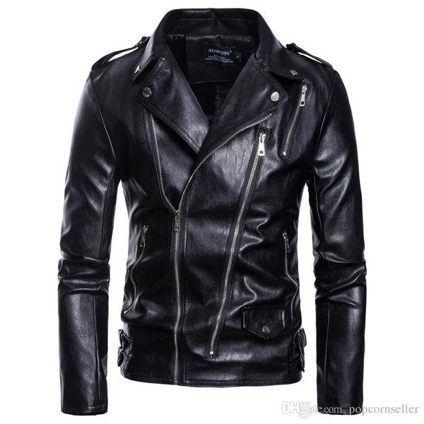 Mens Designer Leather Jackets Plus Size Solid Color Lapel Neck Multi Zipper Outwear Fashion Mens Motorcycle Jacket