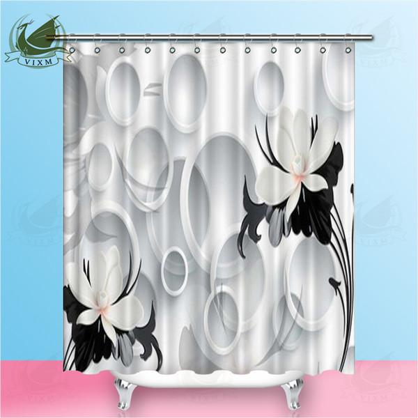 Vixm 3d lily Rose papel pintado geométrico cortinas de ducha estilo abstracto floral impermeable tela de poliéster cortinas para la decoración casera