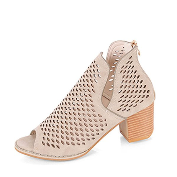 Toe Zipper Altos Sólidos Zapatos Compre Señoras Tacones De Peep I2H9DE